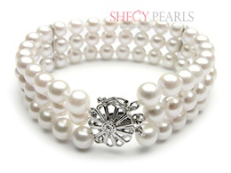 White Cultured Akoya Pearl Bracelet