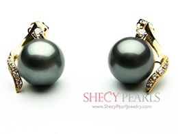 Black Cultured Tahitian Pearl Earring