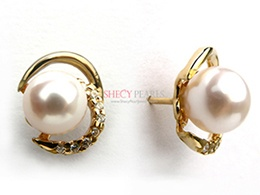 White Cultured Akoya Pearl Earring