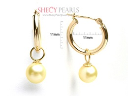 Golden Cultured Akoya Pearl Earring