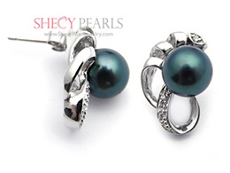 Black Cultured Akoya Pearl Earring