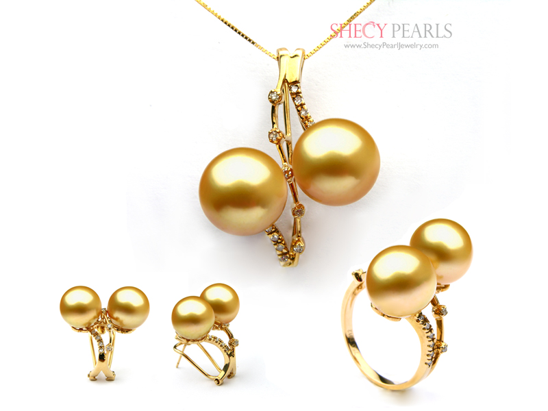 Golden cultured south sea pearl jewelry set 11mm12mm aa description aloadofball Image collections