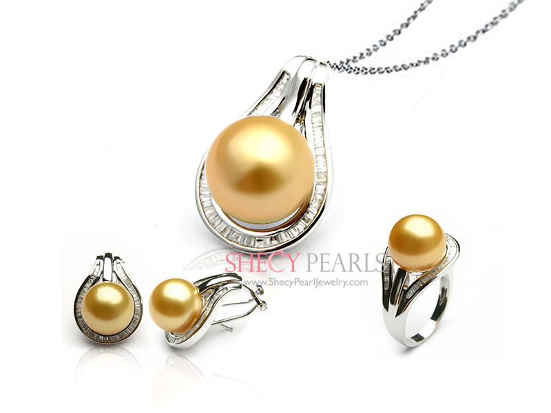 Golden Cultured South Sea Pearl Jewelry Set 12 0mm 13 Aaa Pjs0049 Shecypearls