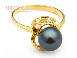 Black Cultured Freshwater Pearl Ring