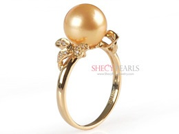 Golden Cultured South Sea Pearl Ring